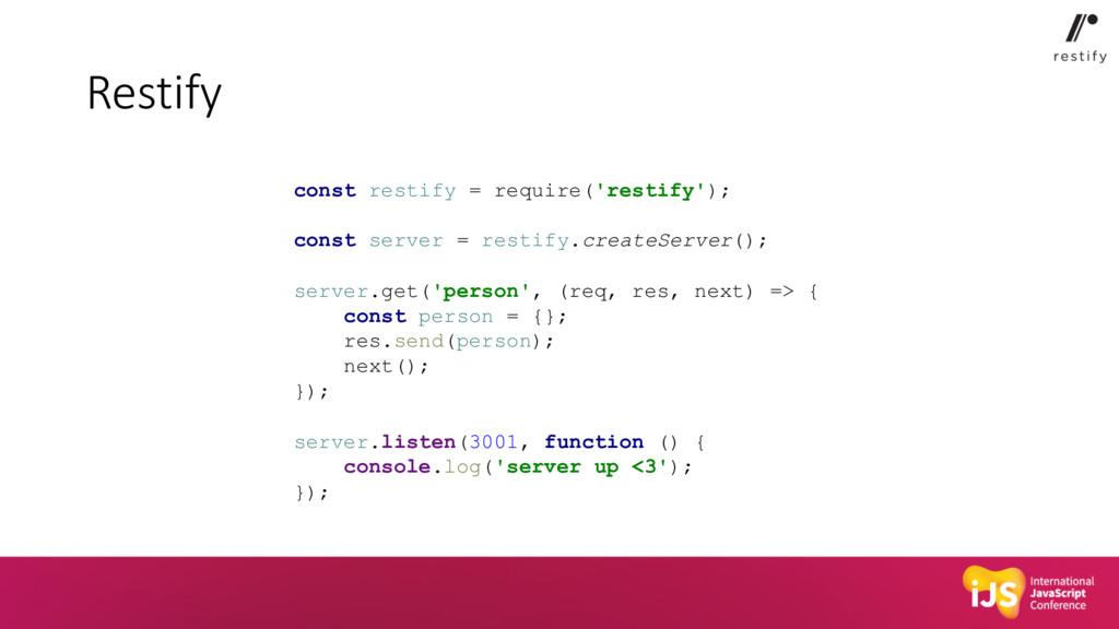 Restify const restify = require('restify'); con...