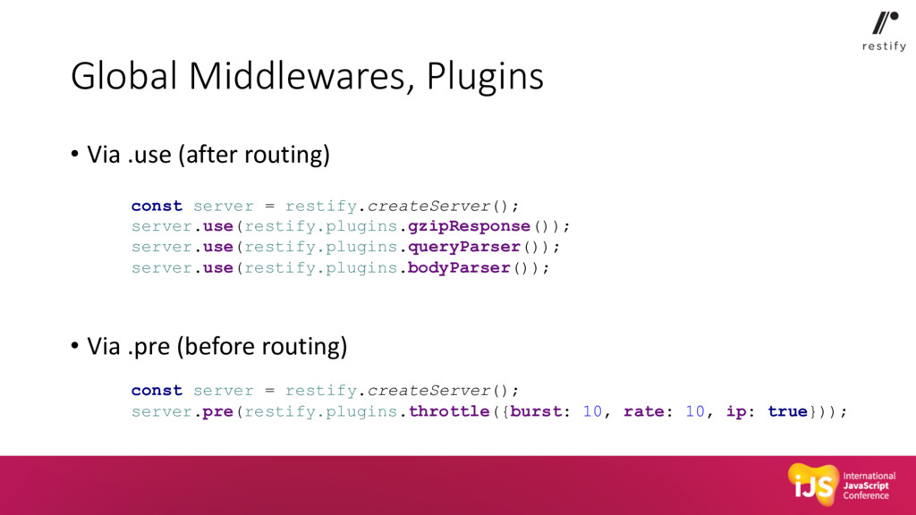 Global Middlewares, Plugins • Via .use (after r...