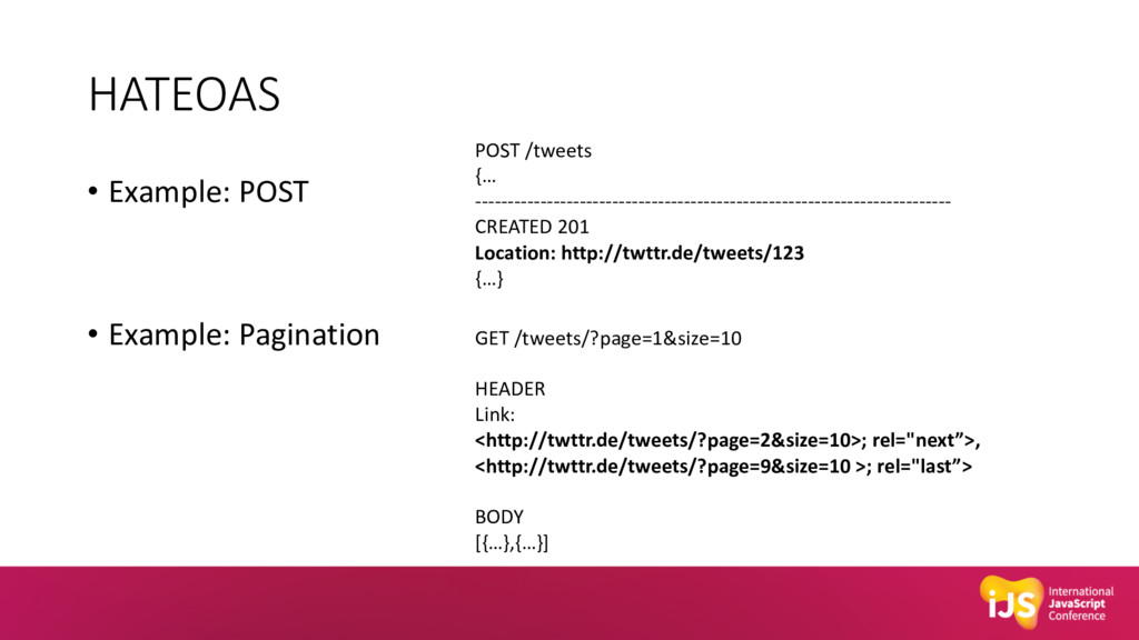 HATEOAS • Example: POST • Example: Pagination P...
