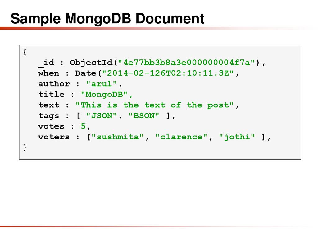 """Sample MongoDB Document { _id : ObjectId(""""4e77b..."""