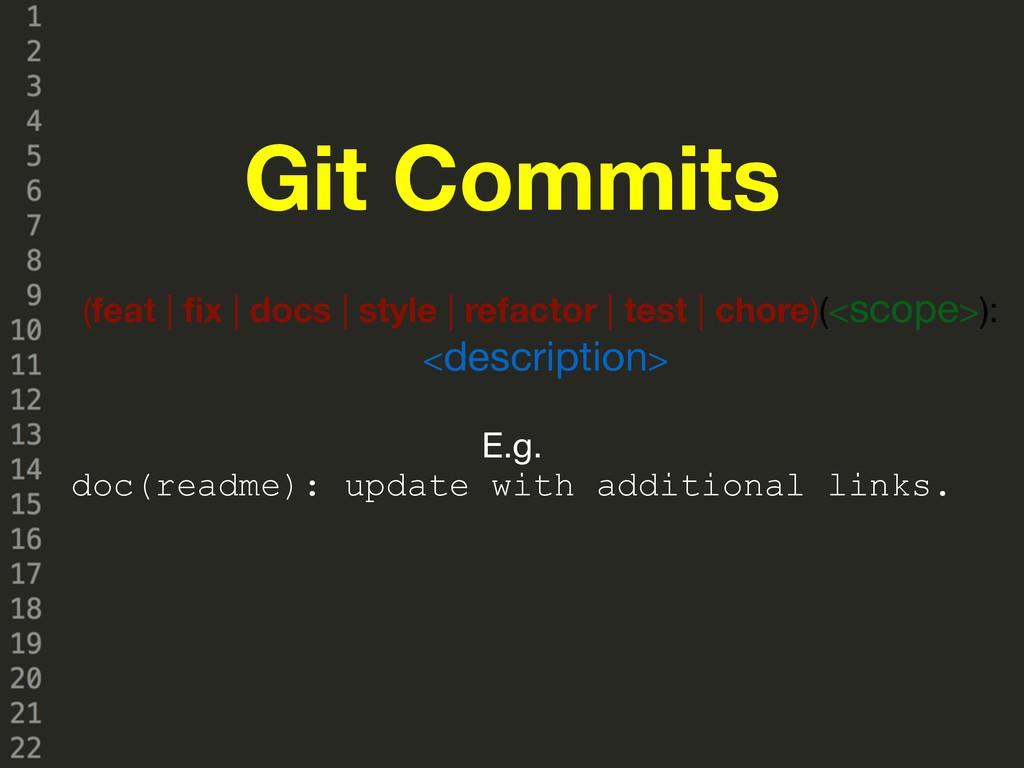 Git Commits (feat | fix | docs | style | refact...