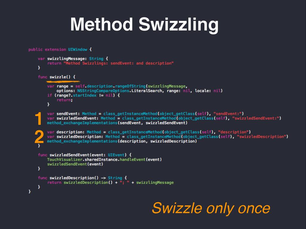 Method Swizzling Swizzle only once 1 2