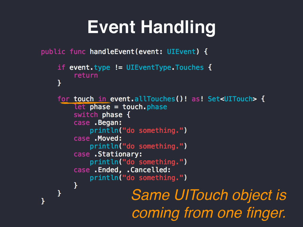 Same UITouch object is coming from one finger. E...