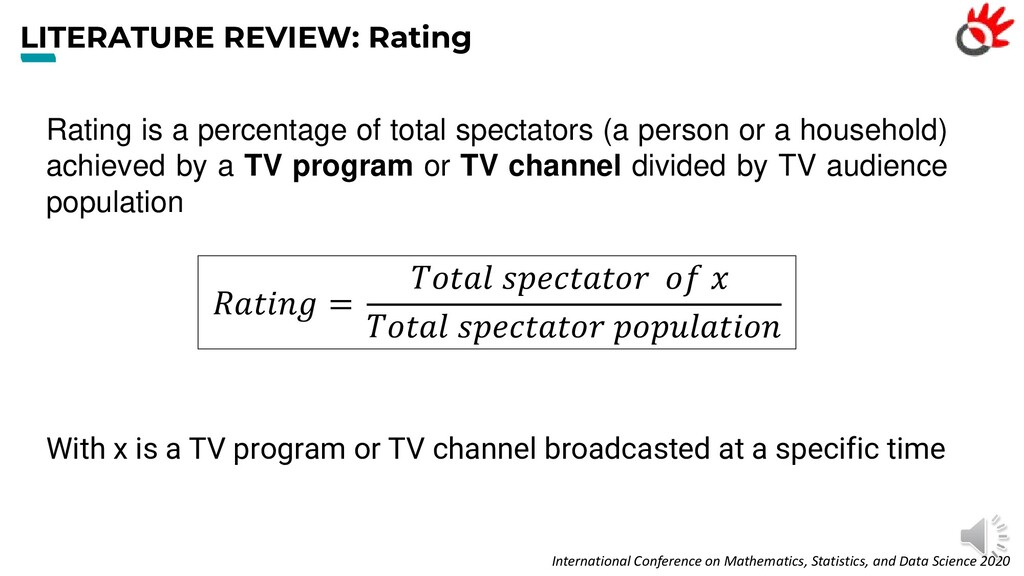 LITERATURE REVIEW: Rating Rating is a percentag...