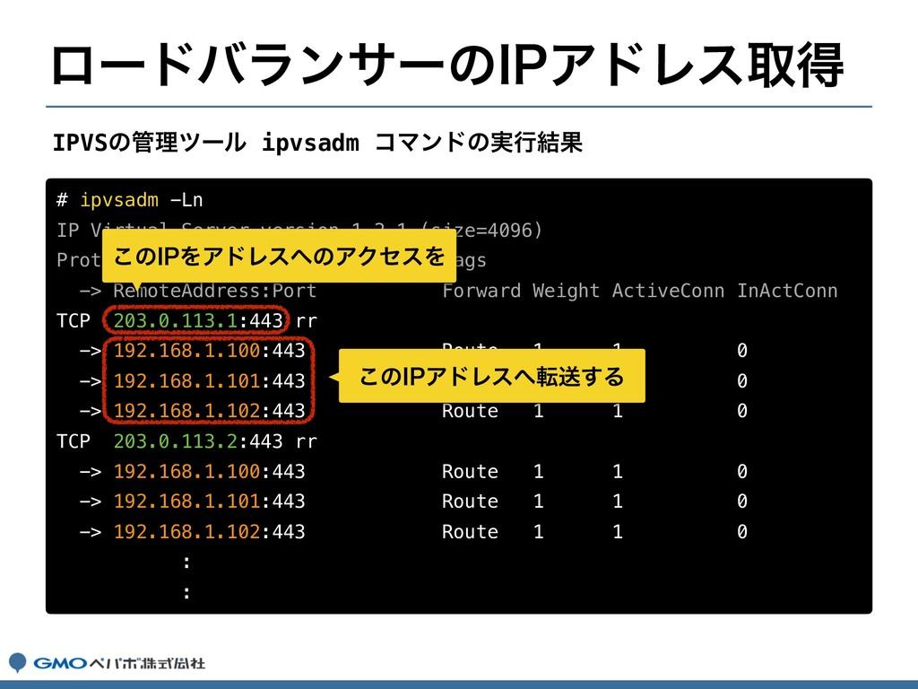 # ipvsadm -Ln IP Virtual Server version 1.2.1 (...