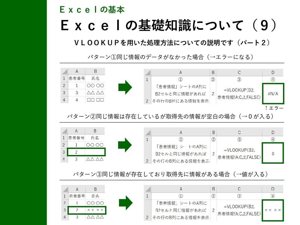 パターン①同じ情報のデータがなかった場合(→エラーになる) Excelの基本 Excelの基礎...