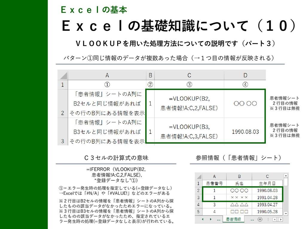 Excelの基本 Excelの基礎知識について(10) 参照情報(「患者情報」シート) C3セ...