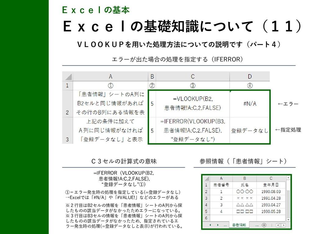 エラーが出た場合の処理を指定する(IFERROR) Excelの基本 Excelの基礎知識につ...