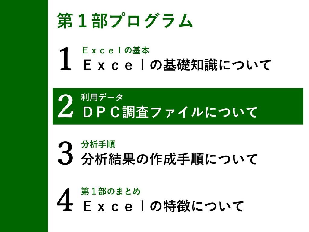 1Excelの基本 Excelの基礎知識について 第1部プログラム 2利用データ DPC調査フ...