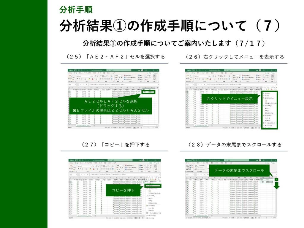 分析手順 分析結果①の作成手順について(7) (25)「AE2・AF2」セルを選択する (26...
