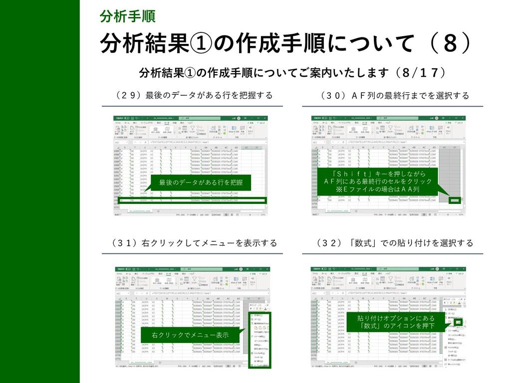分析手順 分析結果①の作成手順について(8) (29)最後のデータがある行を把握する (30)...