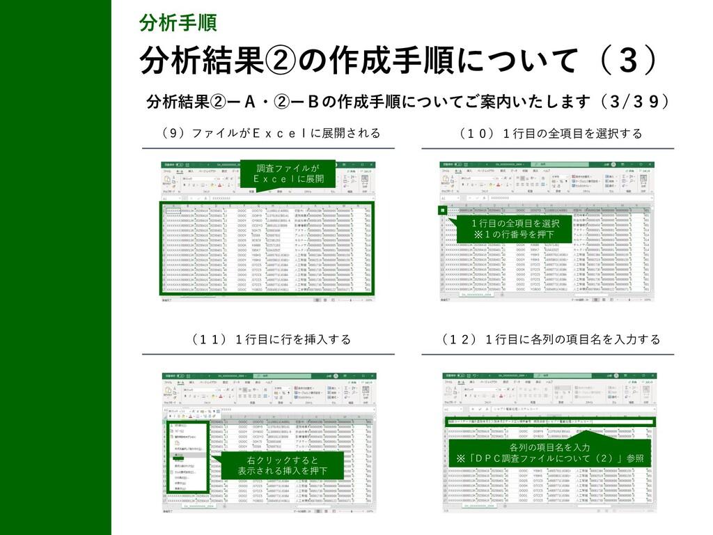 (9)ファイルがExcelに展開される (10)1行目の全項目を選択する (11)1行目に行を...