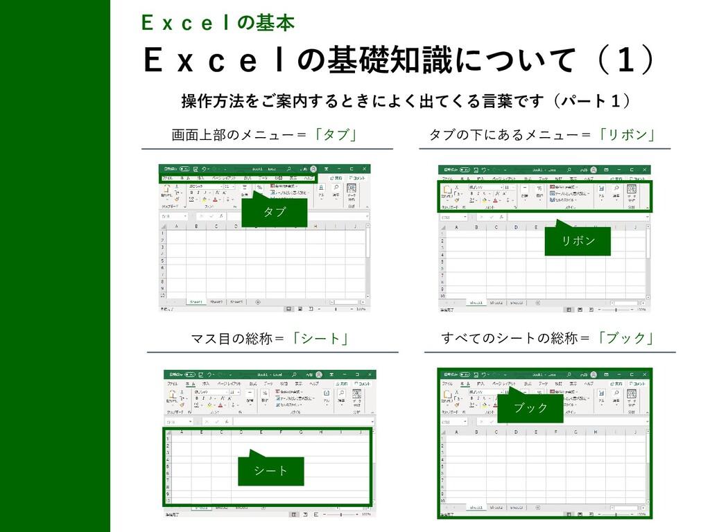 Excelの基本 Excelの基礎知識について(1) 画面上部のメニュー=「タブ」 タブの下に...