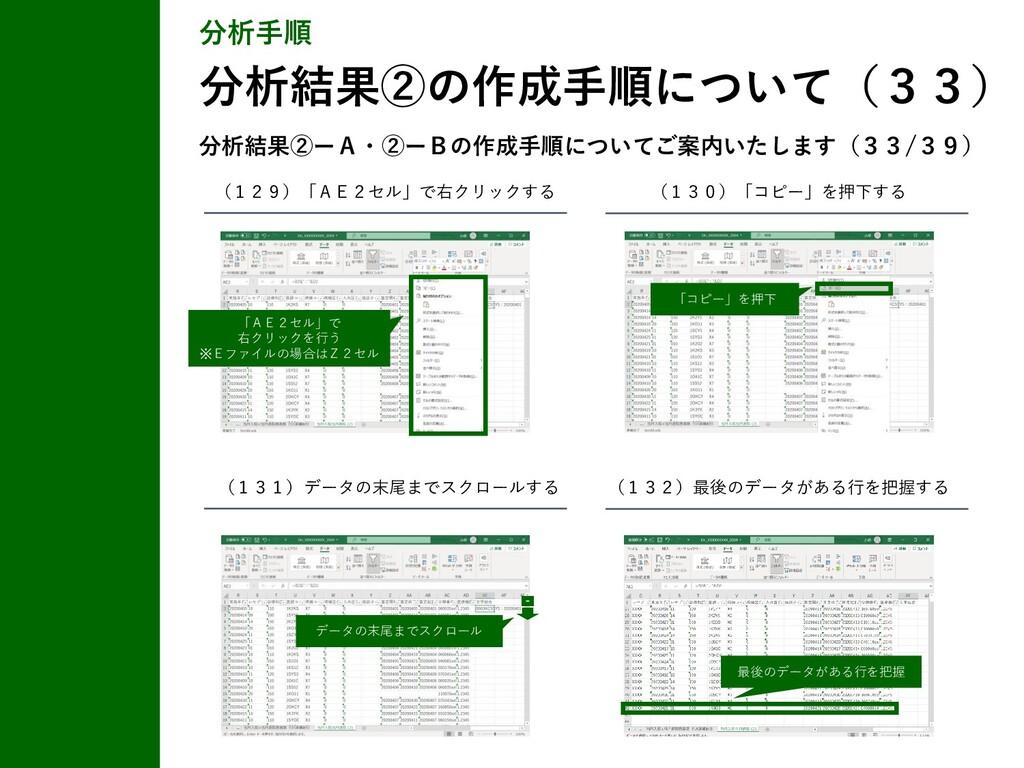 分析手順 分析結果②の作成手順について(33) (129)「AE2セル」で右クリックする (1...