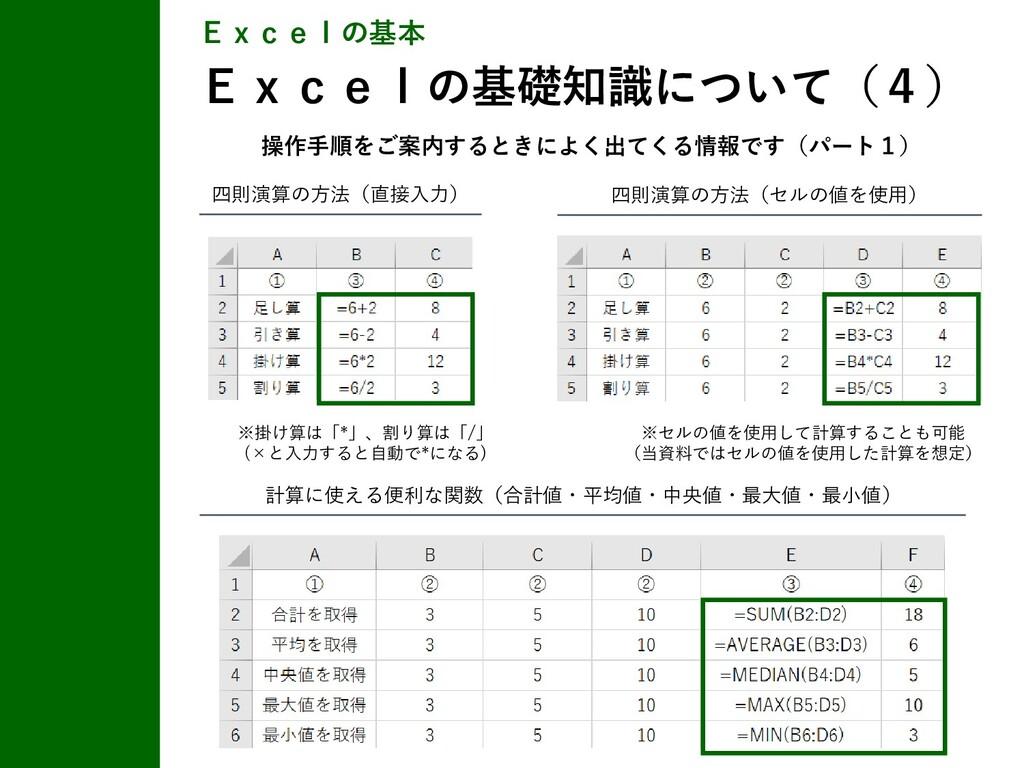 Excelの基本 Excelの基礎知識について(4) 四則演算の方法(セルの値を使用) 四則演...