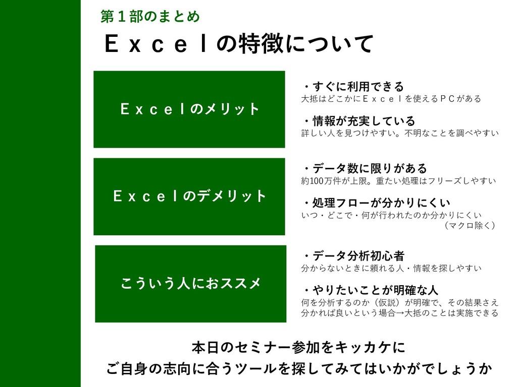 第1部のまとめ Excelの特徴について Excelのデメリット ・データ数に限りがある 約1...