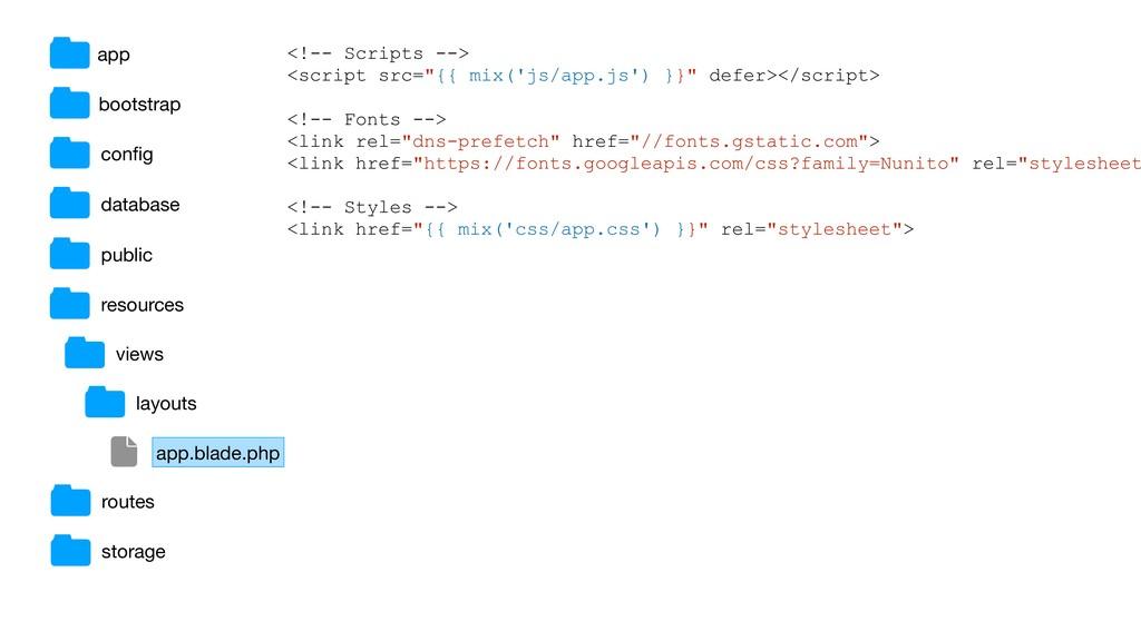 """<!-- Scripts --> <script src=""""{{ mix('js/app.js..."""