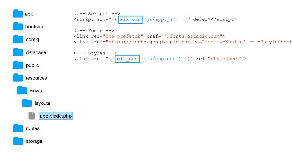 """<!-- Scripts --> <script src=""""{{ mix_cdn('js/ap..."""