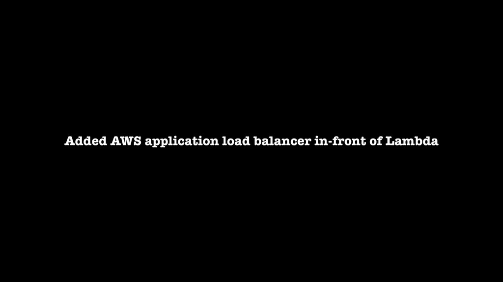 Added AWS application load balancer in-front of...