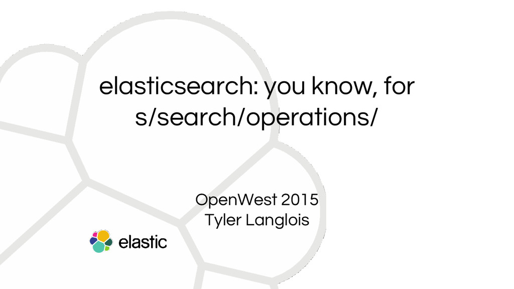elasticsearch: you know, for s/search/operation...