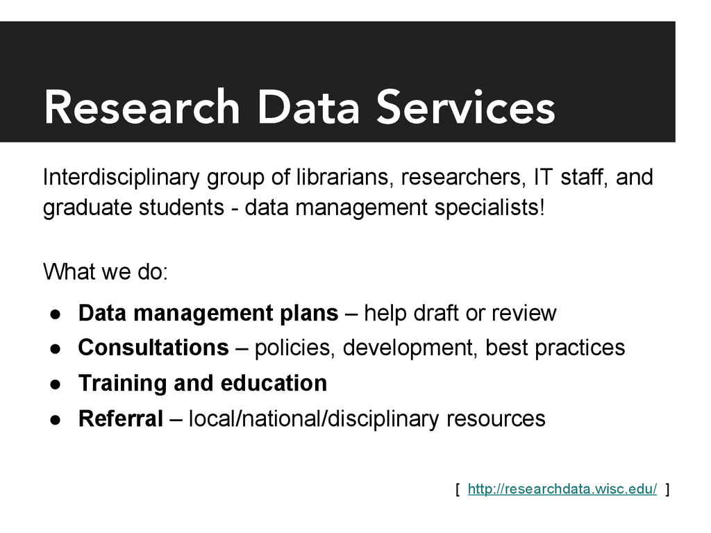 Research Data Services Interdisciplinary group...