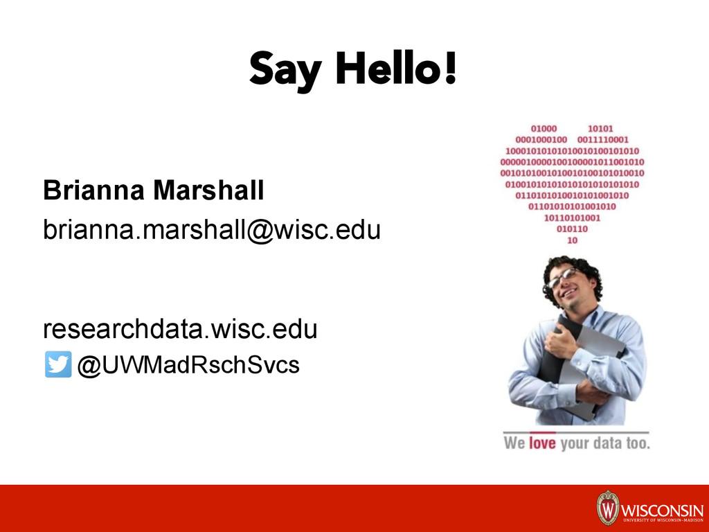 Say Hello! Brianna Marshall brianna.marshall@w...