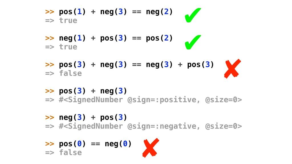 >> pos(1) + neg(3) == neg(2) => true >> neg(1) ...