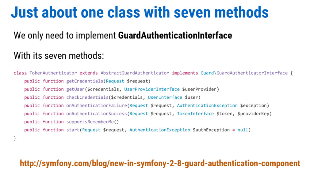 Just about one class with seven methods We only...