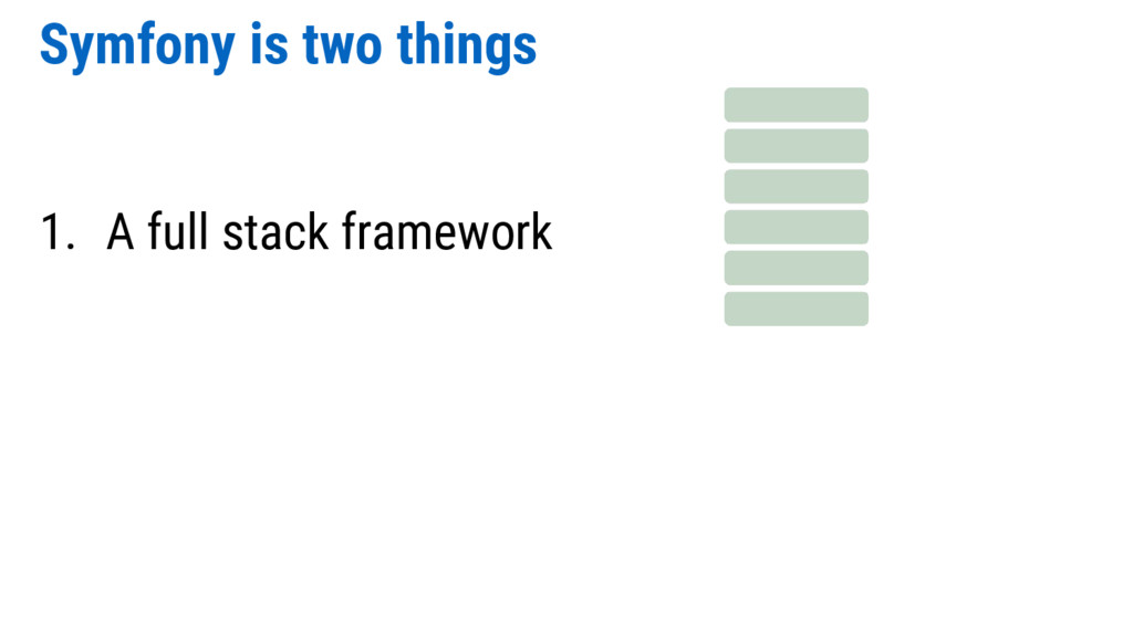 Symfony is two things 1. A full stack framework