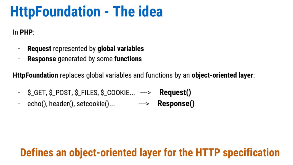 HttpFoundation - The idea In PHP: - Request rep...
