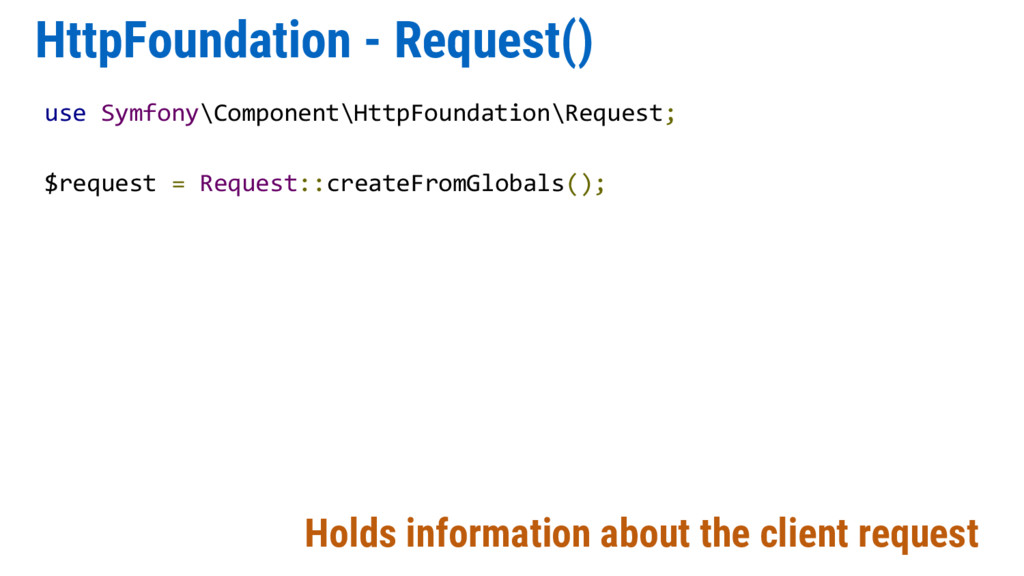 HttpFoundation - Request() Holds information ab...