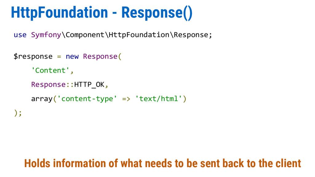HttpFoundation - Response() Holds information o...