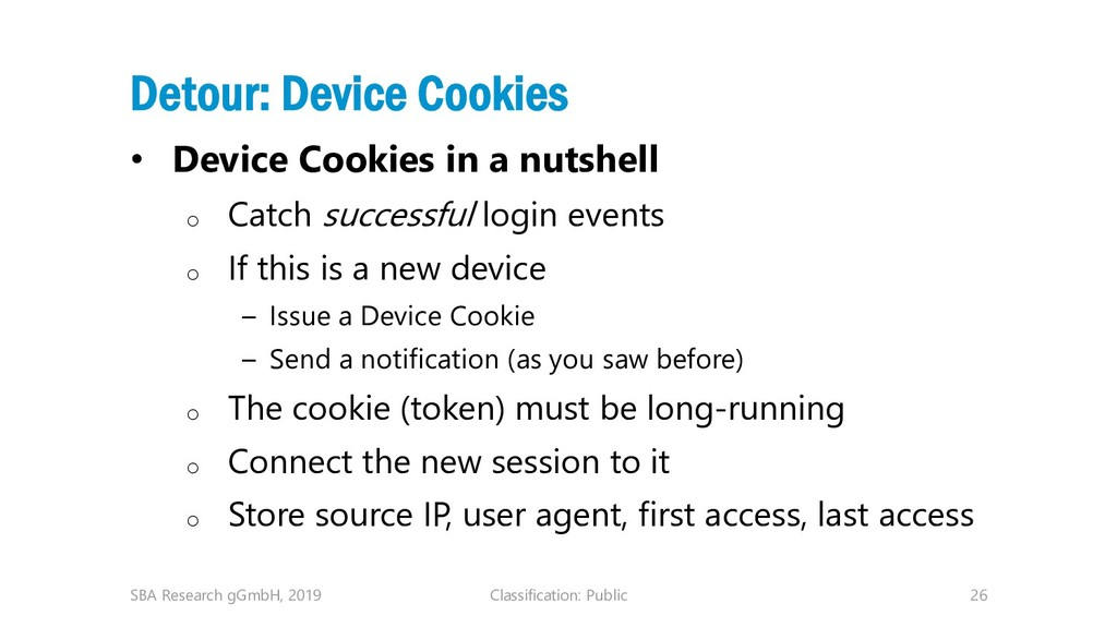 Classification: Public 26 Detour: Device Cookie...