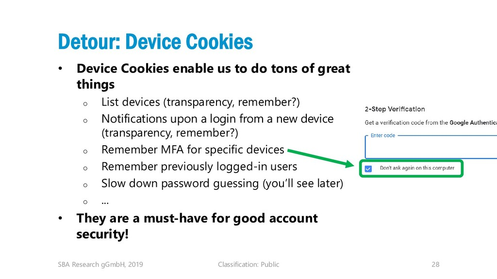 Classification: Public 28 Detour: Device Cookie...