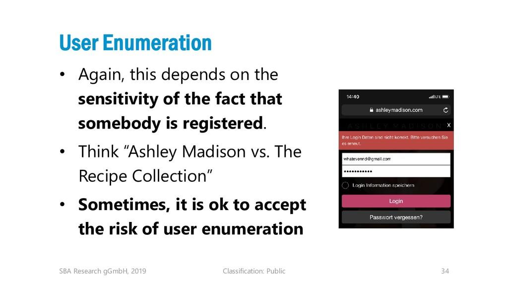 Classification: Public 34 User Enumeration • Ag...