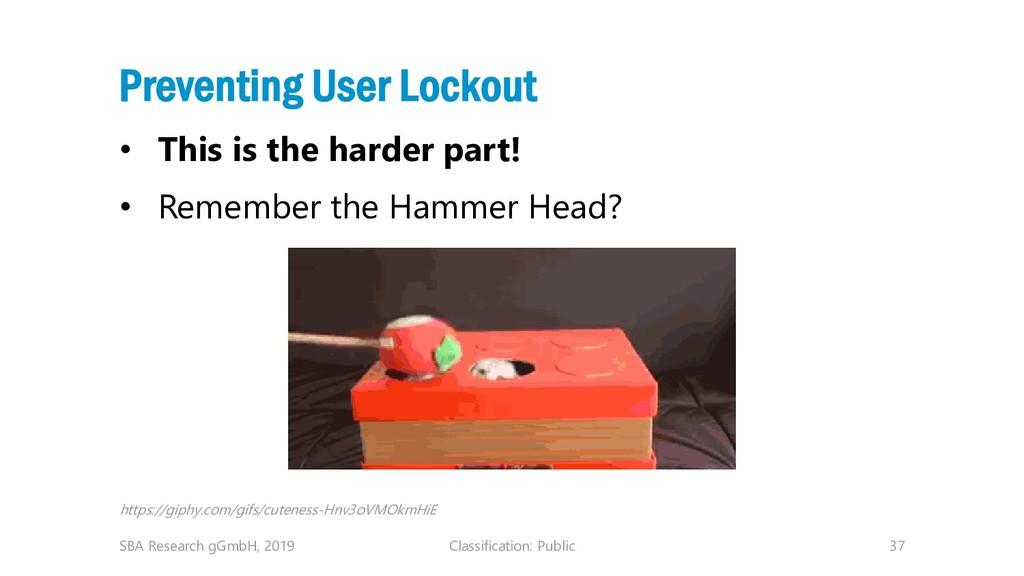 Classification: Public 37 Preventing User Locko...