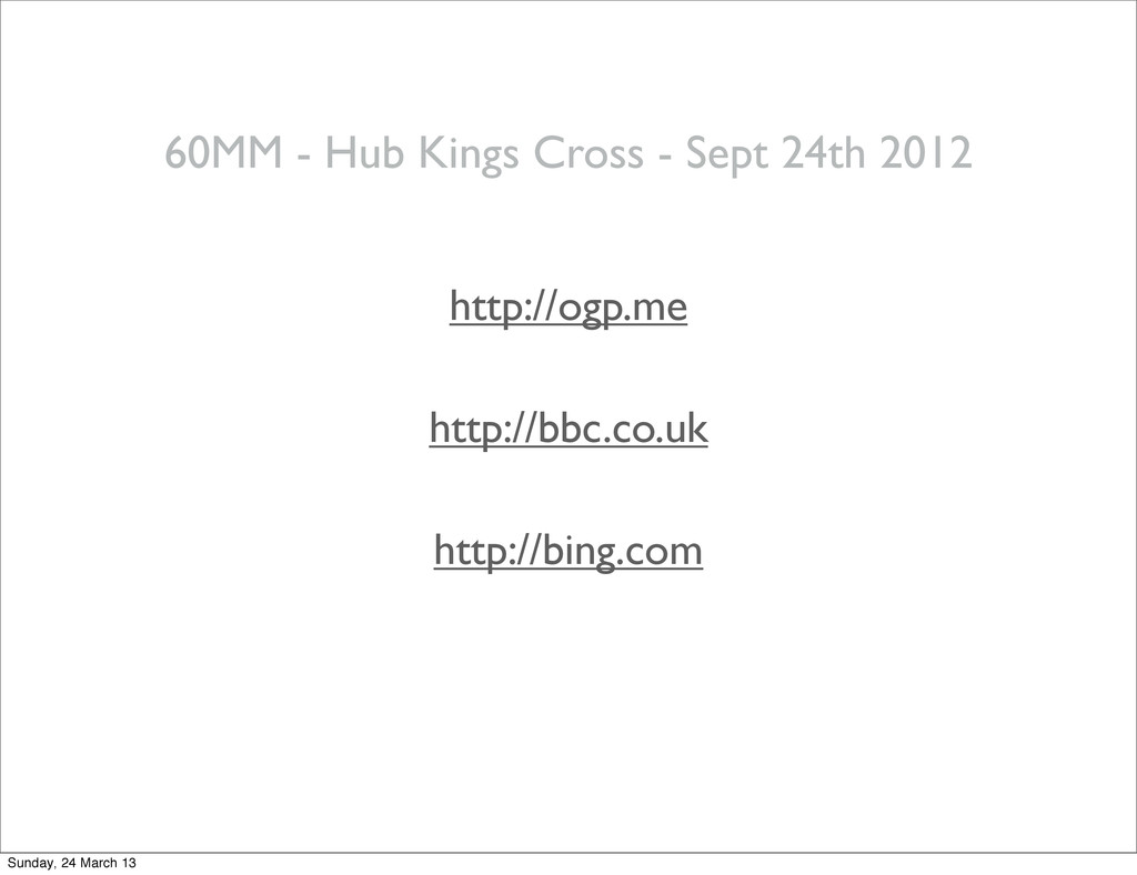 60MM - Hub Kings Cross - Sept 24th 2012 http://...