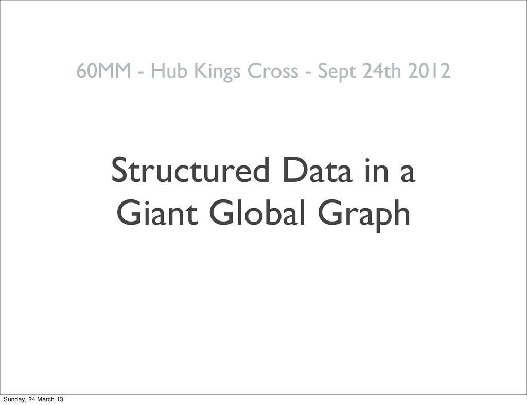 Structured Data in a Giant Global Graph 24 60MM...