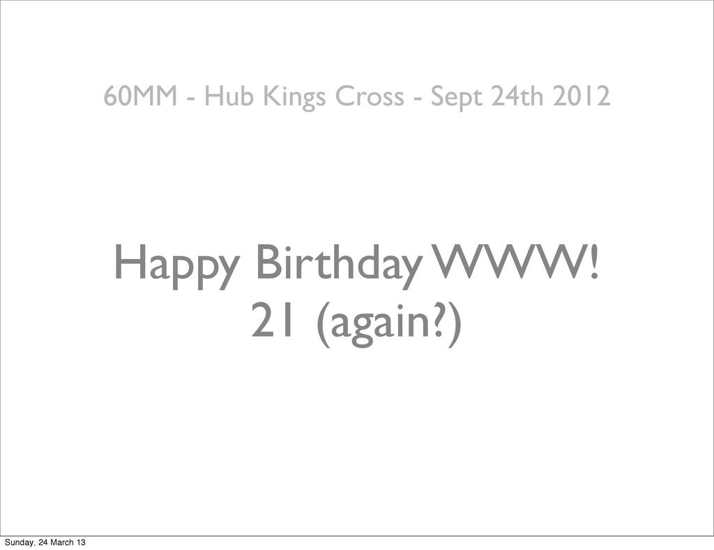 Happy Birthday WWW! 21 (again?) 60MM - Hub King...