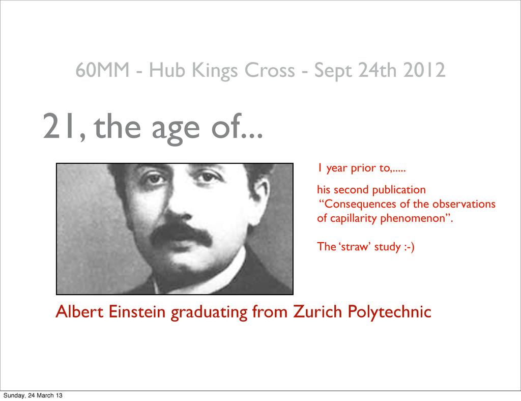 21, the age of... Albert Einstein graduating fr...