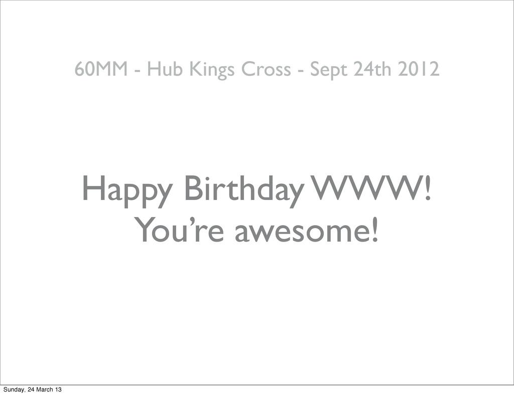 Happy Birthday WWW! 60MM - Hub Kings Cross - Se...