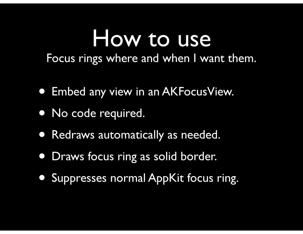 How to use Focus rings where and when I want th...