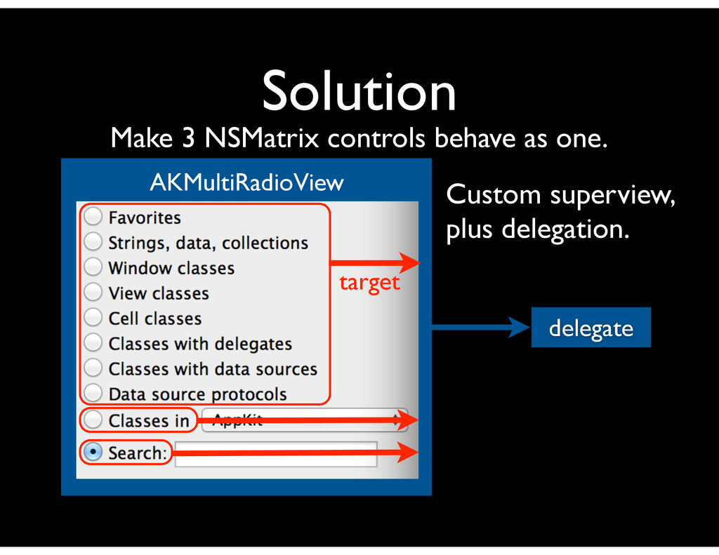 Solution Make 3 NSMatrix controls behave as one...