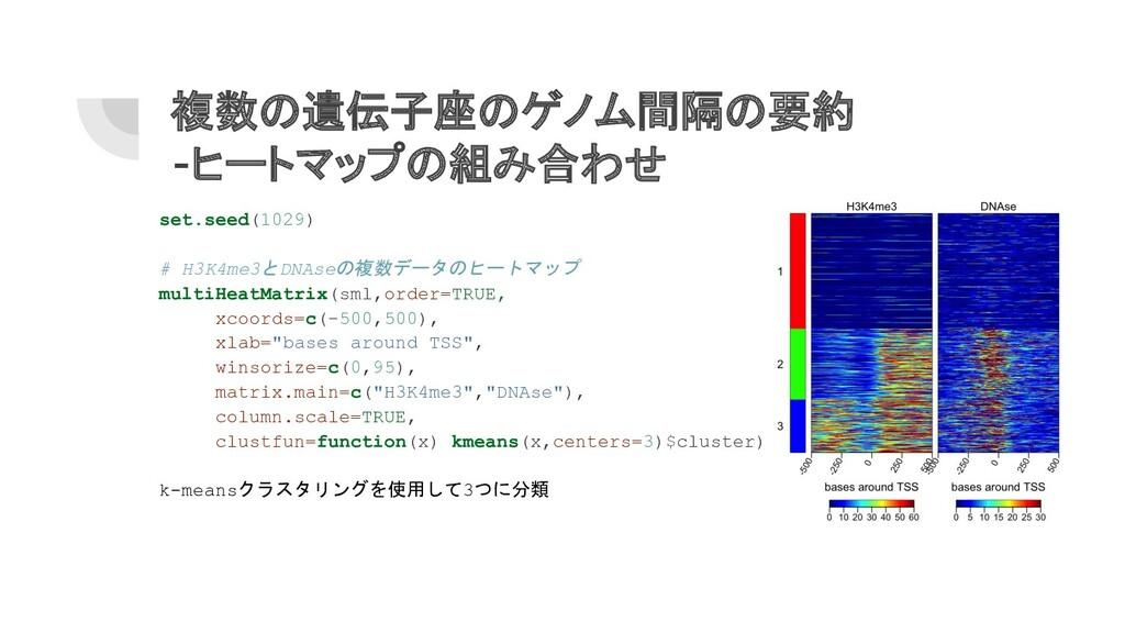 複数の遺伝子座のゲノム間隔の要約 -ヒートマップの組み合わせ set.seed(1029) #...