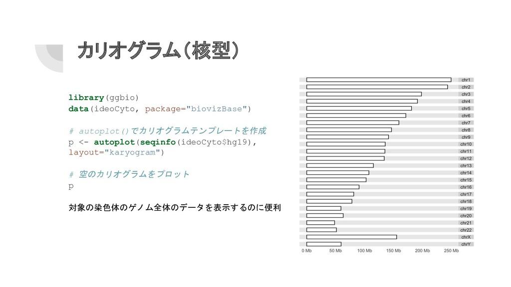 カリオグラム(核型) library(ggbio) data(ideoCyto, packag...