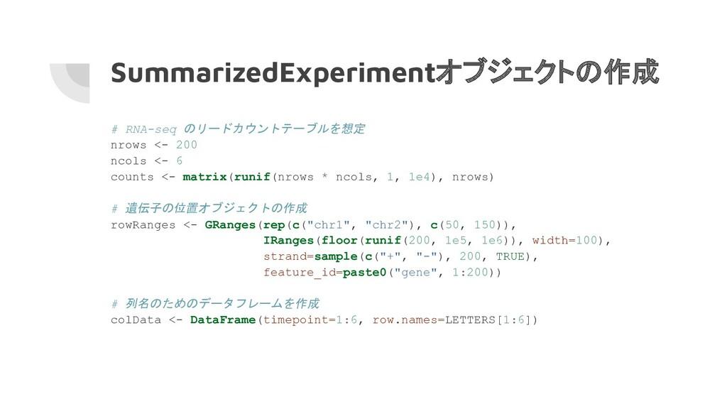 SummarizedExperimentオブジェクトの作成 # RNA-seq のリードカウン...