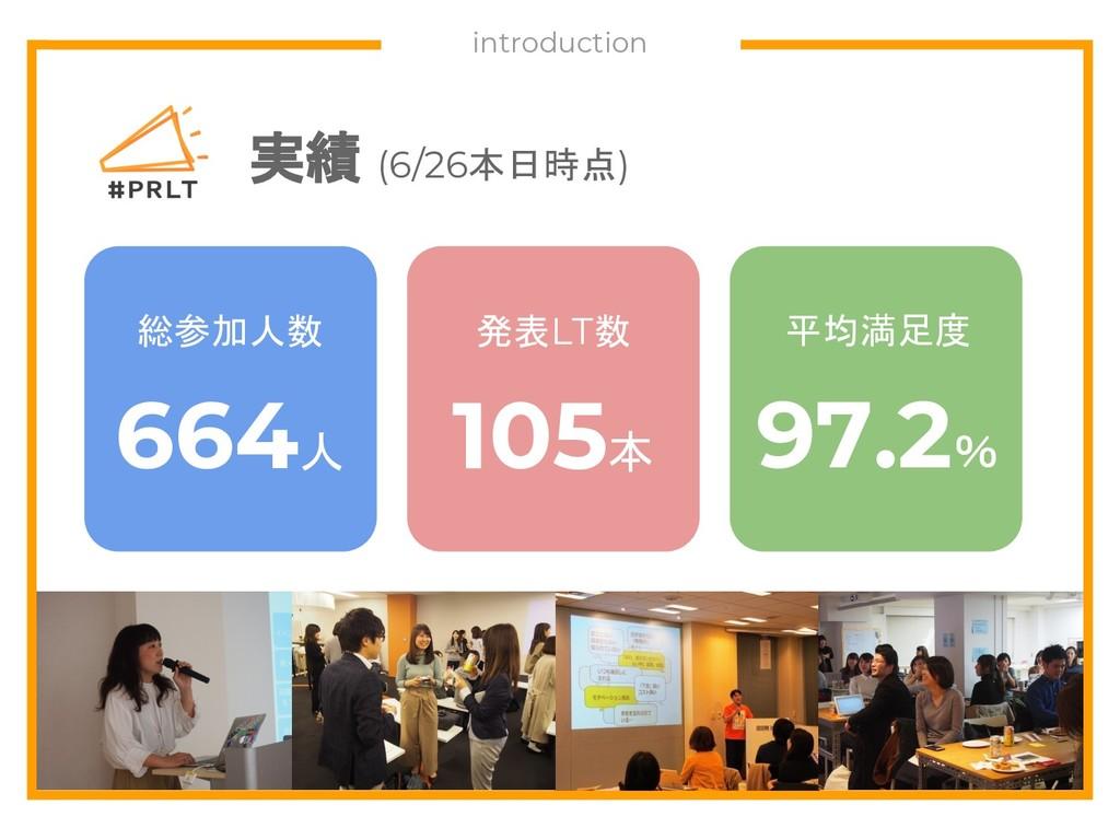 実績 (6/26本日時点) 総参加人数 664人 発表LT数 105本 平均満足度 97.2%...