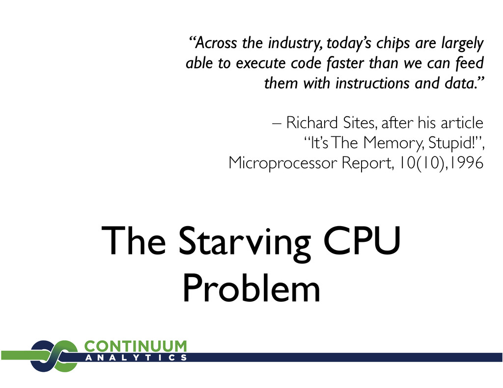 """The Starving CPU Problem """"Across the industry, ..."""