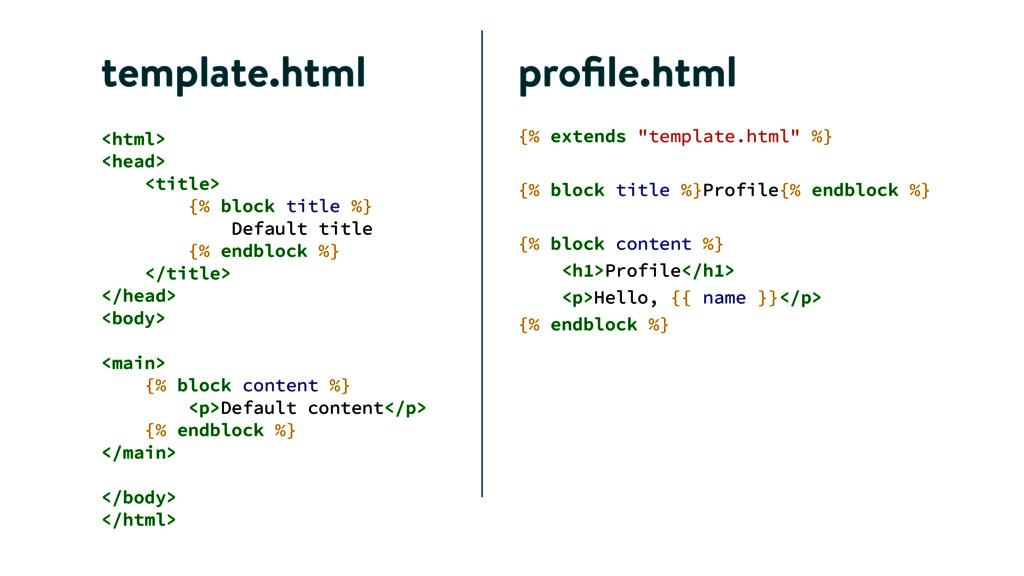 """template.html {% extends """"template.html"""" %} ! {..."""
