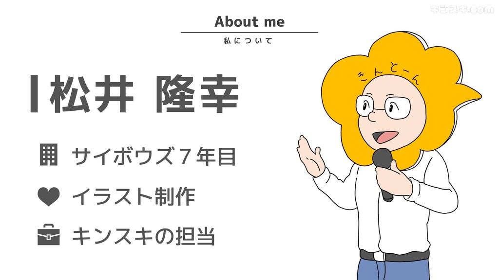 About me 私 に つ い て 松井 隆幸 サイボウズ7年目 イラスト制作 キンスキの担当